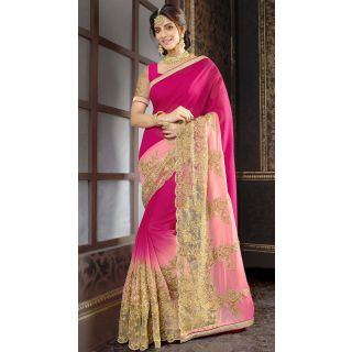 Elevate Woman Pink  Zari Embroidery work with Lace border Fashion Georgette Sari