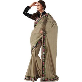 Subhash Sarees Brown Colored Georgette Plain Saree/Sari