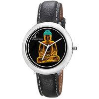Jack Klein 1208 Graphic Analog Black Leather Designer Watch For Men,Women
