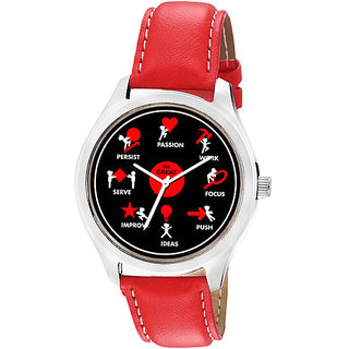 Jack Klein 1209 Graphic Analog Red Leather Watch For Men,Women