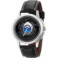 Jack Klein 1211 Graphic Analog Black Leather Designer Watch For Men,Women