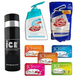 Summer Sale  Ice Deo + Lifebuoy Handwash and Refill pack + 5 Jo Soaps