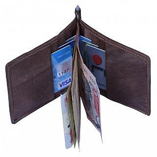 Leather Credit/Debit/ATM Card Case  Money Clip Holder Dark Brown