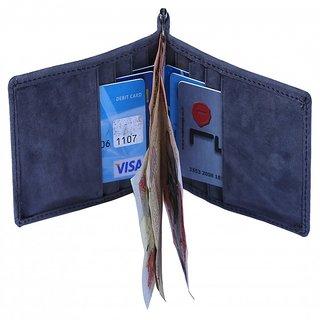 Leather Credit/Debit/ATM Card Case  Money Clip Holder  Grey