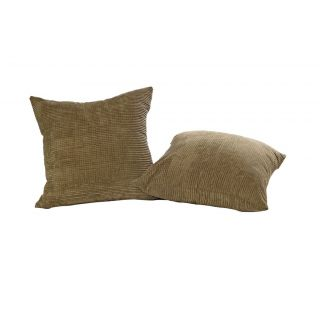 Just Linen Pair of Cross Striped Brown Fleece Cushion Covers