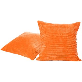 Just Linen Pair of Cross Striped Orange Fleece Cushion Covers