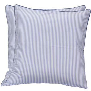 Just Linen 200 TC Blue Pencil Striped Cotton Pair of Small Size Cushion Cover