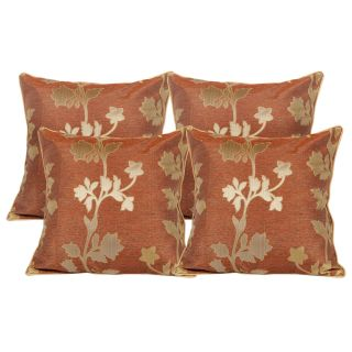 Just Linen Set of 8 Pcs of Floral Jacquard Cushion Covers With Cushion Fillers