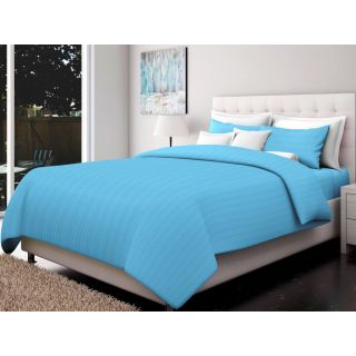 Just Linen 200 TC Cotton Sateen Light Sky Blue Colored Striped King Size Ac Comforter