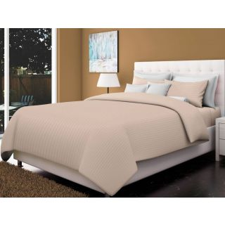 Just Linen 200 TC Cotton Sateen Taupe Colored Striped King Size Ac Comforter