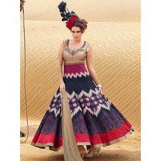 Thankar Blue Printed  Embroidered Bhagalpuri Anarkali Suit