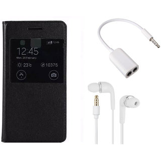 MuditMobi Premium Flip Cover With Earphone and Audio Splitter Cable For- Micromax Canvas Doodle 3 A102 - Black