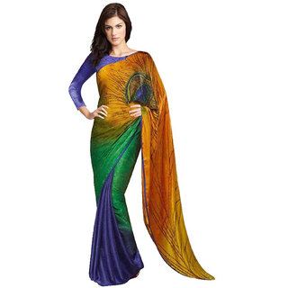 Shree Rajlaxmi Sarees Multicolour Satin Jacquard Saree With Blouse