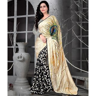 Shree Rajlaxmi Sarees Cream and Black Satin Jacquard Saree With Blouse