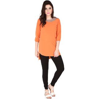 Soie Orange Crepe Round Neck Elbow Sleeve Solid Tunic