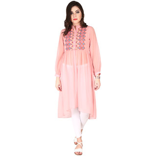 Soie Pink Georgette Shirt Collar Elbow Sleeve Printed Tunic
