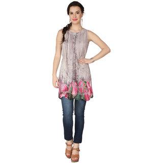Soie Multi Lycra Round Neck Sleeveless Printed Tunic