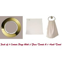 Welhouse Set Of 5 Curtains Rings  2 Face Towel With 1 Hand Towel.