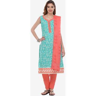 Varanga Blue Cotton Embroidered Dress Material