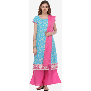 Varanga Blue Cotton Embroidered Dress Material