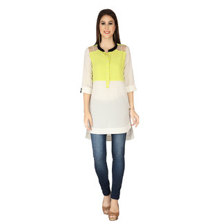 Soie White Georgette Shirt Collar Elbow Sleeve Solid Tunic