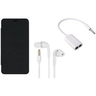 MuditMobi Premium Flip Cover With Earphone and Audio Splitter Cable For- Lava Pixel V1 - Black