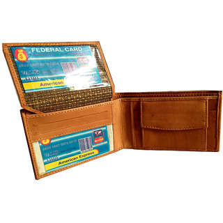 GoShamoy TAN Leather Wallet With Up Lifiting Card Holder Option