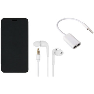 MuditMobi Premium Flip Cover With Earphone and Audio Splitter Cable For- Micromax Canvas Gold A300 - Black