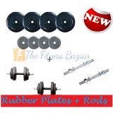 12 Kg Adjustables Rubber Dumbells Sets. Rubber Plates Dumbells Rods