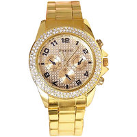 Paidu Round Dial Gold Analog Watch For Women.