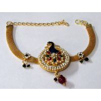 Golden Round Peacock Pearl Armlet