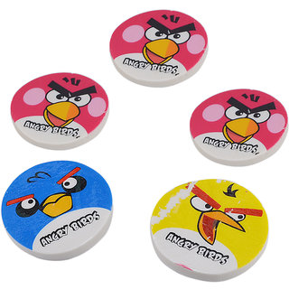 Saamarth Impex 5 Pcs Angry Bird Cartoon Charecter Round Rubber Eraser SI-337