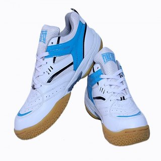 Excel Badminton Shoes White Blue With Non Marking Sole