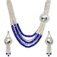 Ethnic Jewels Silver Plated Silver Necklace Set With Earrings For Women