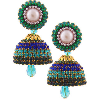 Little Jaipur Hancrafted Multicolor Diamond Jhumka