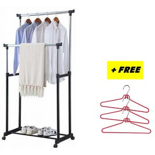 FREE-3-PCS-CLOTHE-HANGER-WITH-STAINLESS-STEEL-DOUBLE-E-POLE-CLOTHESRACK