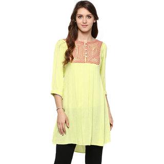 Shakumbhari Yellow Rayon,Crepe Round Neck Elbow Sleeve Solid Tunic