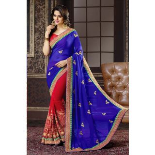 Elevate Woman Red  Blue Embroidery work with Lace border Georgette Fashion Sari