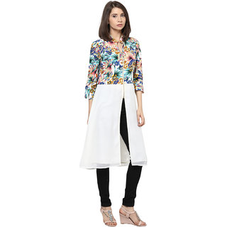 Shakumbhari White Georgette V-Neck Elbow Sleeve Floral Tunic