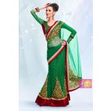 Stylish Green One Minute Saree With Golden Embroidery Corn Flower