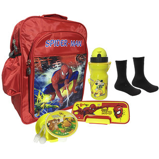 Bagther Multicolor School Bag With Lunch Box Pencil Box Socks and Water Bottle (Combo of 5)