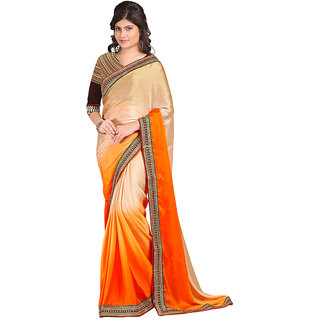 Karishma Beige  Orange Satin Saree With Heavy Blouse