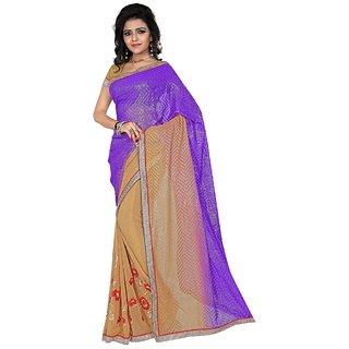 Karishma Thread Embroidered Purple  Beige Jacquard Saree