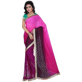 Karishma Thread Embroidered Pink  Violet Jacquard Saree