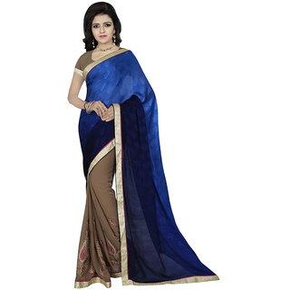 Karishma Thread Embroidered Blue  Beige Jacquard Saree