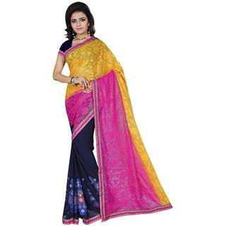 Karishma Thread Embroidered Yellow  Dark Blue Jacquard Saree