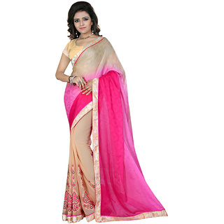 Karishma Thread Embroidered Beige  Magenta Jacquard Saree