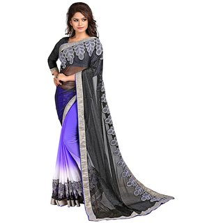 Karishma Black  Purple Lycra Heavy Patch Work Saree