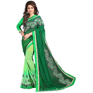 Karishma Dark Green  Light Green Jacquard Heavy Resham Work Saree