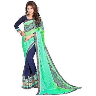 Karishma Turquoise  Dark Blue Jacquard Heavy Patch Work Saree